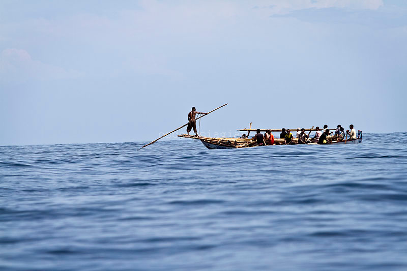 A man prepare to  spear a sperm whale from his boat. Residents in the lamalera village, Indonesia cathing  sperm whales with traditional method to provide meals for the entire village and part of the Lembata island where the village is located..