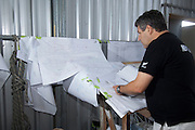 Giovanni Belgrano takes notes from the design drawings for the Team New Zealand Camper Volvo Ocean Race Open 70. 5/12/2010