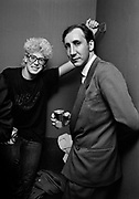 Photo of Pete Townsend (WHO) and Adam Clayton backstage after U2 concert  at the Hammersmith Palais London 1981