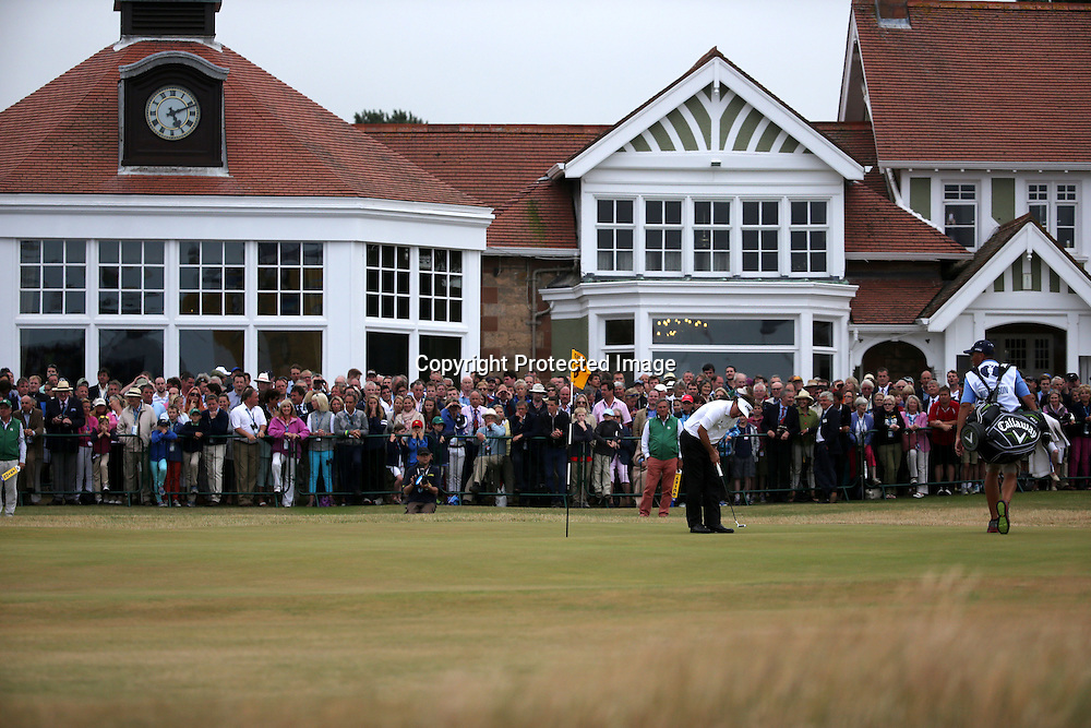 Phil Mickelson (USA),<br /> JULY 21, 2013 - Golf :<br /> Phil Mickelson of United States hits his birdie putt on 18th hole during the final round of the 142nd British Open Championship at Muirfield in Gullane, East Lothian, Scotland. (Photo by Koji Aoki/AFLO SPORT) [0008]