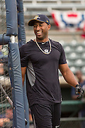 New York Yankees Eduardo Nunez during batting practice with the minor league Charleston RiverDogs at Joseph P. Riley Jr. Stadium July 2, 2013 in Charleston, South Carolina.