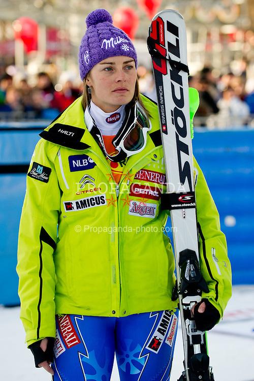 22.01.2012, Podkorn, Kranjska Gora, SLO, FIS Weltcup Ski Alpin, Kranjska Gora, Damen, Slalom, Podium, im Bild Tina Maze of Slovenia at ceremony after 2nd Run of 48th Golden Fox Audi Alpine FIS Ski World Cup Ladies Slalom, on January 22, 2012 in Podkorn, Kranjska Gora, Slovenia. EXPA Pictures © 2012, PhotoCredit: EXPA/ Sportida/ Matic Klansek Velej..***** ATTENTION - OUT OF SLO *****