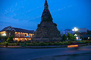 Vientiane, Laos. That Dam, the Black Stupa, one of the oldest monuments, 15th C, in the capital city of Vientiane.
