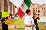 14 MARCH 2011 - PHOENIX, AZ: Public school students march around the plaza protesting the state's anti-immigrant atmosphere at the Arizona State Capitol in Phoenix Monday. Protests by immigrants' rights activists have continued as the state's conservative Republican legislators debate toughening the state's anti-immigrant bills. Some of the bills the state legislature has debated this year include eliminating birthright citizenship, a law that would require hospitals to check the immigration status of patients checking in for elective care, a bill that would require schools to verify the immigration status of students when they enroll and a bill that would require law enforcement to impound the cars of undocumented immigrants even if they have a legal driver's license from another state.      Photo by Jack Kurtz