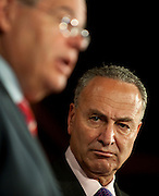 Jul 14, 2010 - Washington, District of Columbia, U.S., -  Senator Charles Schumer listens as Senator Bob Menendez speaks to the media, urging the British government to investigate whether BP a hand in securing the release of Lockerbie bomber al-Megrahi in order to help close a $900-million offshore oil drilling deal with Libya. (Credit Image: © Pete Marovich/ZUMA Press)