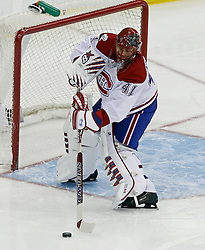 Jan 22, 2010; Newark, NJ, USA; Montreal Canadiens goalie Jaroslav Halak (41) plays the puck during the first period at the Prudential Center.