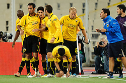 29.09.2011, Spiros Louis Stadium, Athen, GRE, UEFA EL, Gruppe L, AEK Athen (GRE) vs Sturm Graz (AUT), im Bild Jubel nach dem 1 zu 0 fuer AEK Athen, Eigentor durch Joachim Standfest, (Sturm, #18), Jose Carlos, (AEK Athen, #10) // during UEFA Europa League group L football game between AEK Athen (GRC) and Sturm Graz (AUT) at Spiros Louis Stadium in Athen, Greece on 29/09/2011. EXPA Pictures © 2011, PhotoCredit: EXPA/ S. Zangrando