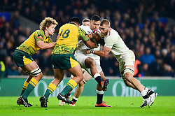 Nathan Hughes of England pushes forward with Brad Shields of England - Mandatory by-line: Dougie Allward/JMP - 24/11/2018 - RUGBY - Twickenham Stadium - London, England - England v Australia - Quilter Internationals