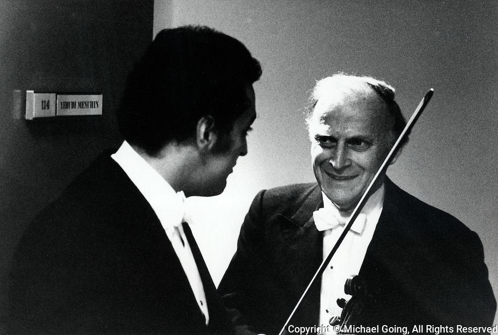 Yehudi Menuhin, LA Philharmonic guest soloist January 1973 Zubin Mehta conducting Stravinsky Rite of Spring &amp; Elgar Violin Concerto<br /> Before the concert with Zubin Mehta at his dressing room door