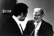 Yehudi Menuhin, LA Philharmonic guest soloist January 1973 Zubin Mehta conducting Stravinsky Rite of Spring &amp; Elgar Violin Concerto<br /> Before the concert with Zubin Mehta at his dressing room door