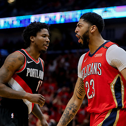 Apr 21, 2018; New Orleans, LA, USA; New Orleans Pelicans forward Anthony Davis (23) reacts after a basket and drawing a foul during the second quarter in game four of the first round of the 2018 NBA Playoffs against the Portland Trail Blazers at the Smoothie King Center. Mandatory Credit: Derick E. Hingle-USA TODAY Sports