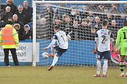Barrow's Ross Hannah (10) misses from tyhe penalty spot during the Vanarama National League match between Barrow and Forest Green Rovers at Holker Street, Barrow, United Kingdom on 28 January 2017. Photo by Mark Pollitt.