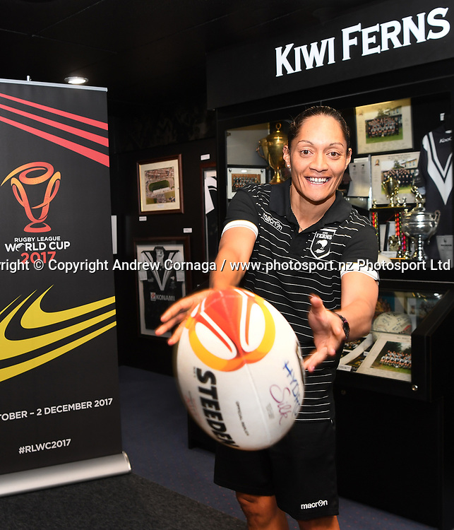 Kiwi Ferns captain Sarina Fiso promotes the Rugby League World Cup. Auckland, New Zealand. Wednesday 2 August 2017. © COPYRIGHT PHOTO: ANDREW CORNAGA / WWW.PHOTOSPORT.NZ