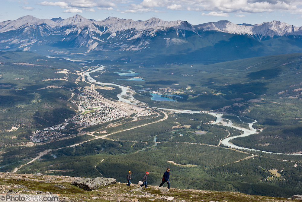 See Jasper townsite and the Colin Range from viewpoints atop The Whistlers peak, above Jasper Tramway station, in Jasper National Park, Canada. Jasper is part of the Canadian Rocky Mountain Parks World Heritage Site declared by UNESCO in 1984.