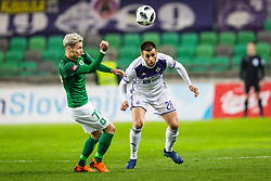 Stefan Savic of NK Olimpija Ljubljana and Mitja Viler of NK Maribor during football match between NK Olimpija Ljubljana and NK Maribor in Round #25 of Prva Liga Telekom Slovenije 2017/18, on March 31, 2018 in SRC Stozice, Ljubljana, Slovenia. Photo by Ziga Zupan / Sportida