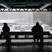 February 3, 2014 - New York, NY : People wait for the No. 4 train at the Burnside Ave. stop in the Bronx on Monday morning.  <br /> CREDIT: Karsten Moran for The New York Times
