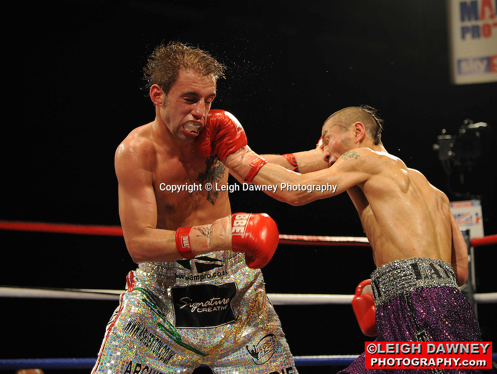 Shinny Bayaar defeats Ashley Sexton at Gorsebrook Leisure Centre Dagenham on 14th May 2010. Frank Maloney Promotions. Photo credit: © Leigh Dawney