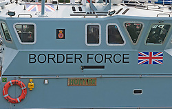 ©Licensed to London News Pictures 11/08/2020             Dover, UK. Border Force patrol vessel Hunter in Dover Marina, Kent. Force Coastal patrol have had another busy day today in the English Channel rescuing migrants trying to cross from France. Photo credit: Grant Falvey/LNP