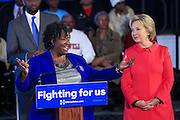 "Bamberg County Schools Superintendent Thelma Sojourner introduces Democratic presidential candidate Hillary Rodham Clinton during a ""Corridor of Opportunity"" Town Hall meeting at Denmark-Olar Elementary School February 12, 2016 in Denmark, South Carolina, USA. The event highlighted the disparities facing poor black families and rural poor in South Carolina."