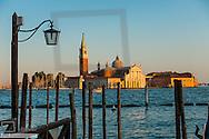 Island of San Giorgio Maggiore in Venice at sun-set, Venice, Venetia, Italy