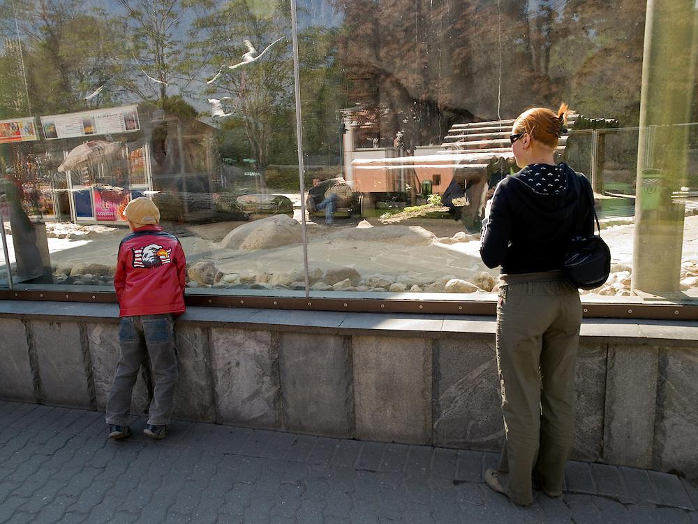 Besucher im Moskauer Zoo. Der Moskauer Zoo wurde 1864 er&ouml;ffnet und ist damit der &auml;lteste Zoo Russlands. Hier werden rund 1000 Tierarten mit &uuml;ber 6.500 Exemplaren, vom Rotwolf &uuml;ber den Zobel bis zu den Elefanten, gehalten. Im &quot;Exotarium&quot;, einer Art Aquarium, kann man Unterwasserwelten samt Fauna tropischer Meere bewundern. Der Zoo wurde von 1990 bis 1997 grundlegend modernisiert und auf seine heutige Fl&auml;che von rund 21,5 Hektar erweitert. <br /> <br /> Visitors at Moscow Zoo. The Moscow Zoo is the largest and oldest zoo in Russia - It was founded in 1864.