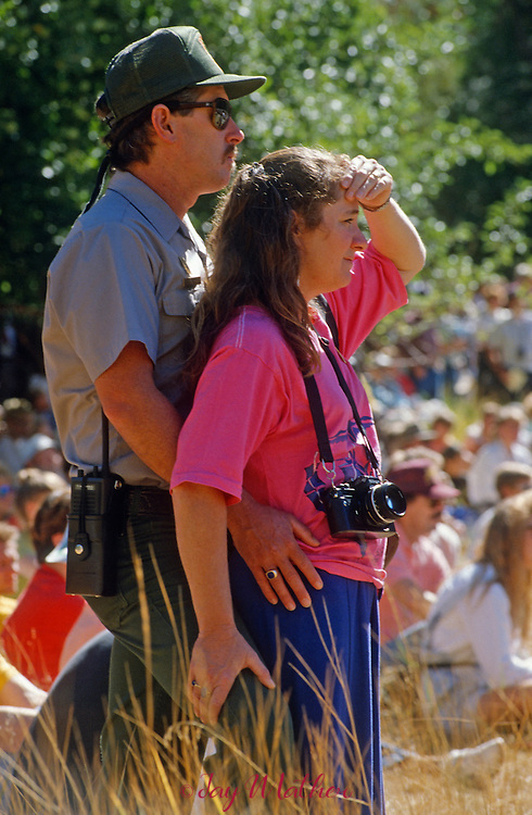 Yosemite National Park 100th anniversary event.  October 1, 1990..A park ranger and wife watch the ceremony.