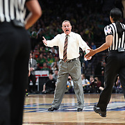 March 31, 2019; Portland, OR, USA;  Mississippi State Bulldogs head coach Vic Schaefer pleads his case after a play to the referee in the second half of Elite Eight of the NCAA Women's Tournament at Moda Center.<br /> Photo by Jaime Valdez