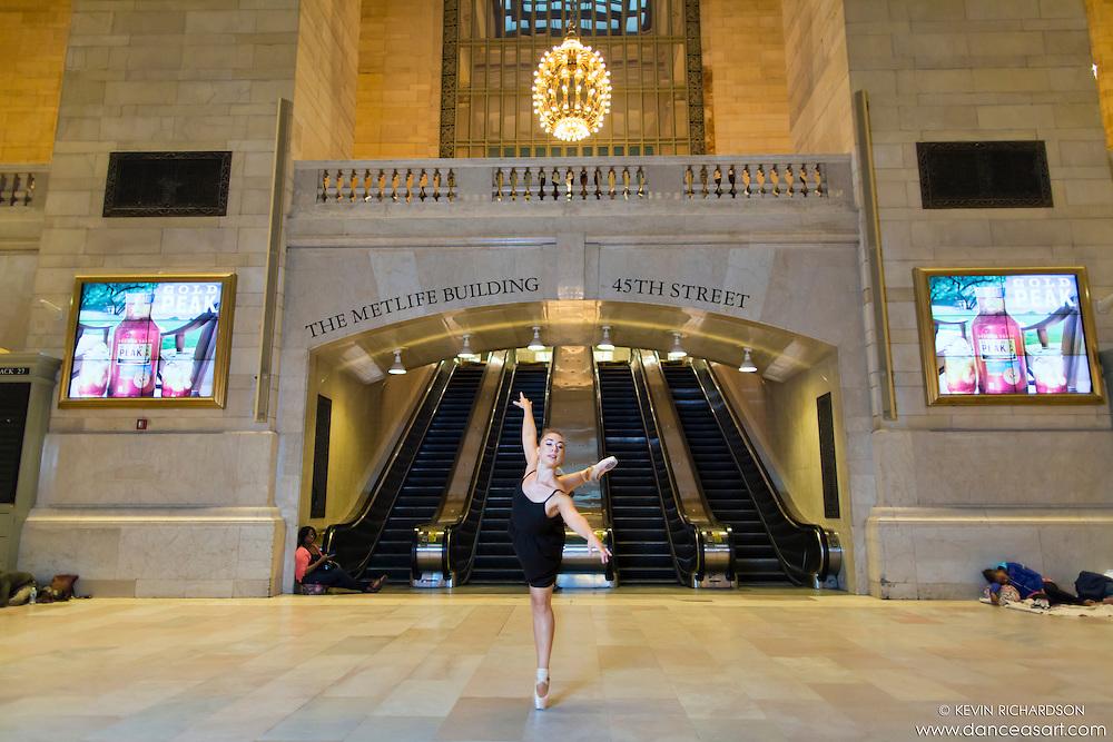 Dancer Grand Central Terminal Dance As Art Photography Project featuring ballerina Hannah Bush