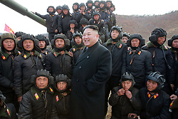 Undated photo from North Korean News Agency shows North Korean leader Kim Jong-un inspecting a Korean People's Army tanks unit, in undisclosed location, North Korea. Photo released April 2017. Photo by Balkis Press/ABACAPRESS.COM