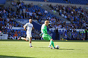 Cardiff City Goalkeeper Ben Amos clears the ball during the EFL Sky Bet Championship match between Cardiff City and Leeds United at the Cardiff City Stadium, Cardiff, Wales on 17 September 2016. Photo by Andrew Lewis.
