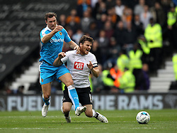 Kevin McDonald of Wolverhampton Wanderers challenges Chris Martin of Derby County - Mandatory byline: Robbie Stephenson/JMP - 07966 386802 - 18/10/2015 - FOOTBALL - iPro Stadium - Derby, England - Derby County v Wolverhampton Wanderers - Sky Bet Championship