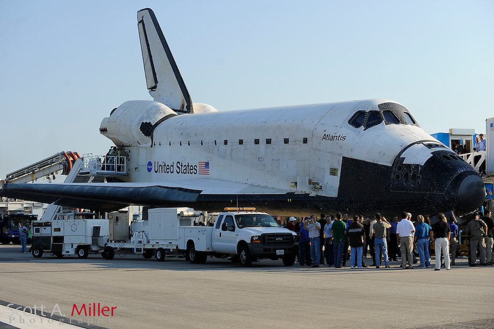 Space Shuttle Atlantis and its STS-135 crew of four lands at Kennedy Space Center in Cape Canaveral, Fla. on July 21, 2011. The landing capped off a 13-day mission to supply the International Space Station and ends NASA's 30-year-old space shuttle program...©2011 Scott A. Miller.