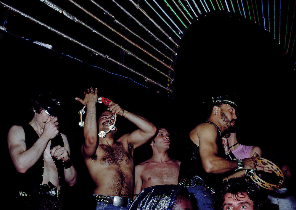 Village People performing on stage at Studio 54, New York, NY