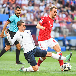 Antoine Griezmann of France tackles Christian Eriksen of Denmark during the FIFA World Cup Group C match between Denmark and France at Luzhniki Stadium on June 26, 2018 in Moscow, Russia. (Photo by Anthony Dibon/Icon Sport)