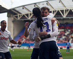 Tom Barkhuizen of Preston North End (R) celebrates after scoring his sides first goal - Mandatory by-line: Jack Phillips/JMP - 08/02/2020 - FOOTBALL - DW Stadium - Wigan, England - Wigan Athletic v Preston North End - English Football League Championship