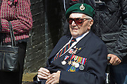 Alan Saunders, former Royal Marine and Dieppe Raid Veteran at the 71st Anniversary of the Dieppe Raid held at Newhaven Fort, East Sussex followed by a Memorial Service at the Canadian Memorial at South Way. March of the Standard Bearers and Veterans from Denton Island to the Memorial