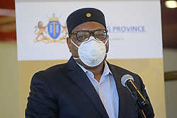 JOHANNESBURG, SOUTH AFRICA - APRIL 25: Gauteng Premier David Makhura at a handover by various stakeholders at the Nasrec quarantine site currently under construction. With isolation units, consultation areas, ICU capabilitiies, medical facilities, power points, drainage and ablutions, the quarantine site will have a total bed capacity of 2300 on April 25, 2020 in Johannesburg South Africa. Under pressure from a global pandemic. President Ramaphosa declared a 21 day national lockdown extended by another two weeks, mobilising goverment structures accross the nation to combat the rapidly spreading COVID-19 virus - the lockdown requires businesses to close and the public to stay at home during this period, unless part of approved essential services. (Photo by Dino Lloyd)