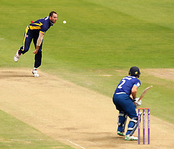 Durham's John Hastings bowls at Gloucestershire's Michael Klinger - Mandatory by-line: Robbie Stephenson/JMP - 07966386802 - 04/08/2015 - SPORT - CRICKET - Bristol,England - County Ground - Gloucestershire v Durham - Royal London One-Day Cup