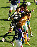 FIFA World Cup 2006 Japan goalkeeper Yoshikatsu Kawaguchi fumbles a punch which resorted in Tim Cahill of Australia to score the second goal