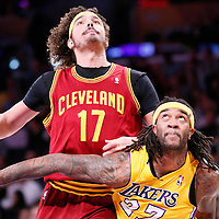 14 January 2014: Cleveland Cavaliers center Anderson Varejao (17) vies for the rebound with Los Angeles Lakers center Jordan Hill (27) during the Cleveland Cavaliers 120-118 victory over the Los Angeles Lakers at the Staples Center, Los Angeles, California, USA.