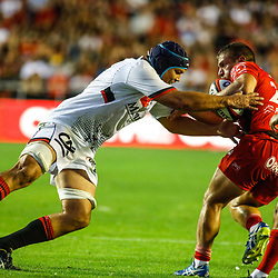 Felix Lambey of Lyon and Badri Alkhazashvili during the pre-season match between Rc Toulon and Lyon OU at Felix Mayol Stadium on August 17, 2017 in Toulon, France. (Photo by Guillaume Ruoppolo/Icon Sport)