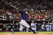 PHOENIX, AZ - JULY 04:  Yangervis Solarte #26 of the San Diego Padres hits a two run home run during the fourth inning against the Arizona Diamondbacks at Chase Field on July 4, 2016 in Phoenix, Arizona.  (Photo by Jennifer Stewart/Getty Images)