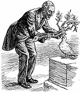 Cartoon in Punch President Wilson. 'HERE'S YOUR OLIVE BRANCH. NOW GET BUSY.' Dove of Peace. 'OF COURSE I WANT TO PLEASE EVERYBODY; BUT ISN'T THIS A BIT THICK?'