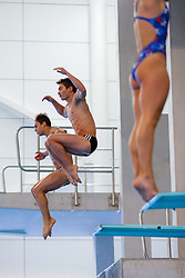 Tom Daley from Dive London Aquatics Club and new 10m Synchro partner Daniel Goodfellow from Plymouth Diving warm up - Mandatory byline: Rogan Thomson/JMP - 23/01/2016 - DIVING - Southend Swimming & Diving Centre - Southend-on-Sea, England - British National Diving Cup Day 2.