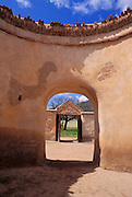 Looking out through the doorway of the mortuary chapel, Tumacacori National Historic Park, Arizona