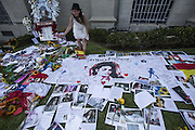 June 25, 2014 - Los Angeles, California, U.S - <br /> <br /> Michael Jackson Fifth Death Anniversary<br /> <br /> Fans of late pop star Michael Jackson pay tribute to the mausoleum at Forest Lawn Memorial Park-Glendale to commemorate the 5th anniversary of his death on June 25, 2014 in Los Angeles, California. ©ZP/Exclusivepix