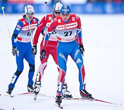 05.01.2011, Nordic Arena, Toblach, ITA, FIS Cross Country, Tour de Ski, Qualifikation Sprint Women and Men, im Bild quaterfinal Martin Koukal (CZE, #41), Maciej Kreczmer (POL, #47) und Alexander Legkov (RUS, #8). EXPA Pictures © 2011, PhotoCredit: EXPA/ J. Groder