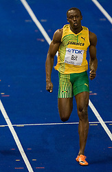 Usain Bolt of Jamaica  competes in the men's 100 Metres Final during day two of the 12th IAAF World Athletics Championships at the Olympic Stadium on August 16, 2009 in Berlin, Germany. (Photo by Vid Ponikvar / Sportida)