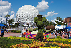 Mickey Mouse bush in front of Spaceship Earth, Epcot Center, Walt Disney World Resort, Orlando, Florida, United States of America