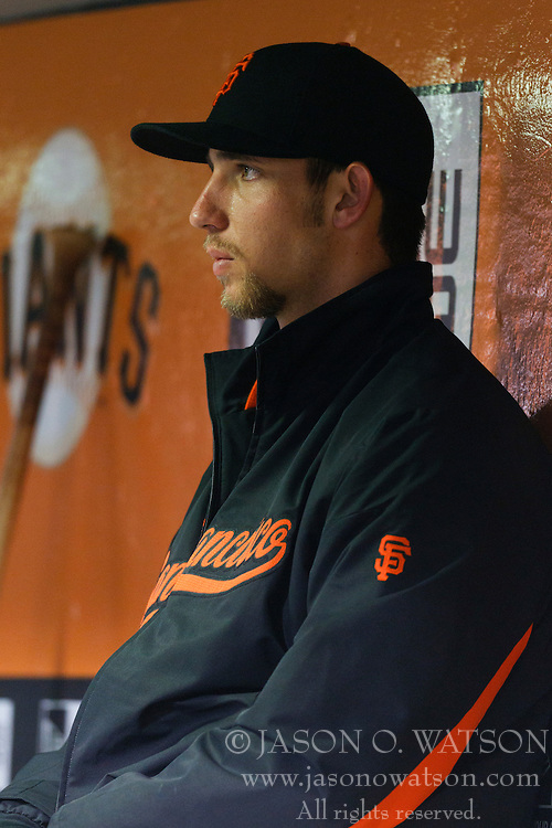May 25, 2011; San Francisco, CA, USA;  San Francisco Giants starting pitcher Madison Bumgarner (40) sits in the dugout after being relieved during the seventh inning against the Florida Marlins at AT&T Park.
